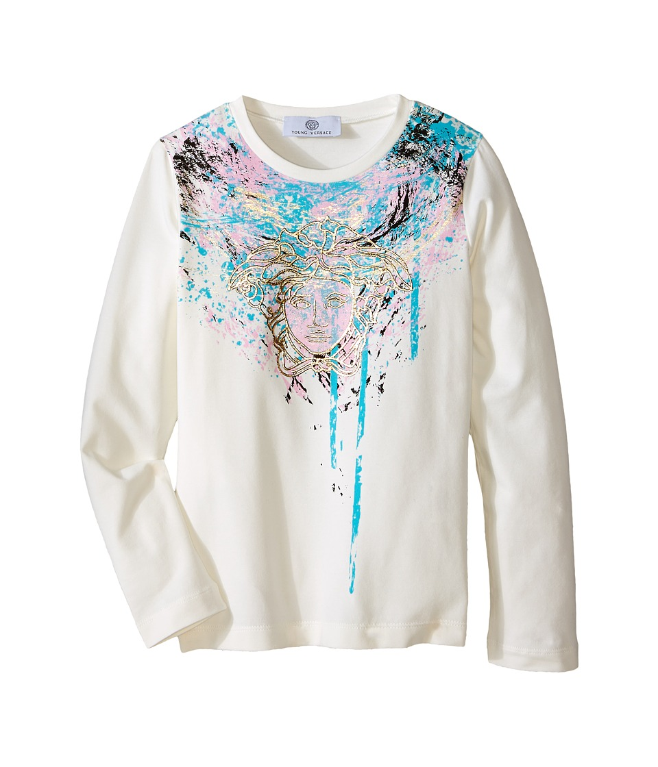 Versace Kids - Graphic Paint Drip Medusa Long Sleeve Tee (Big Kids) (White/Multi) Girl