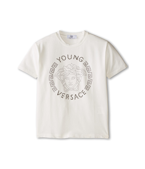 Versace Kids - Young Versace Short Sleeve Tee w/ Medusa Graphic (Big Kids) (White) Boy
