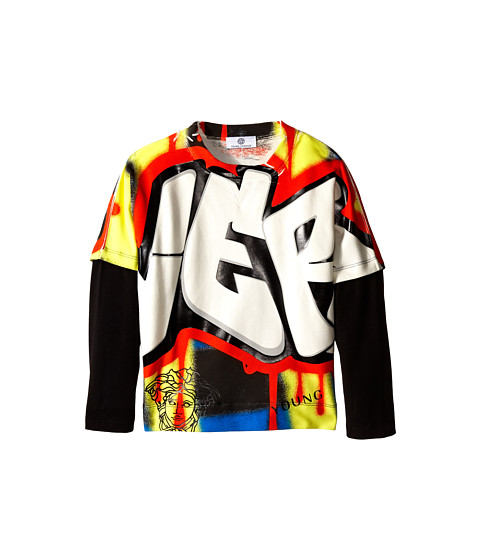 Versace Kids - Graffiti Print Tee w/ Long Sleeve Undershirt (Big Kids) (Multi) Boy