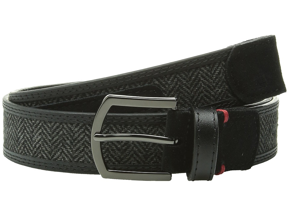 Original Penguin - Leather Belt w/ Woven Insert (Black) Men's Belts