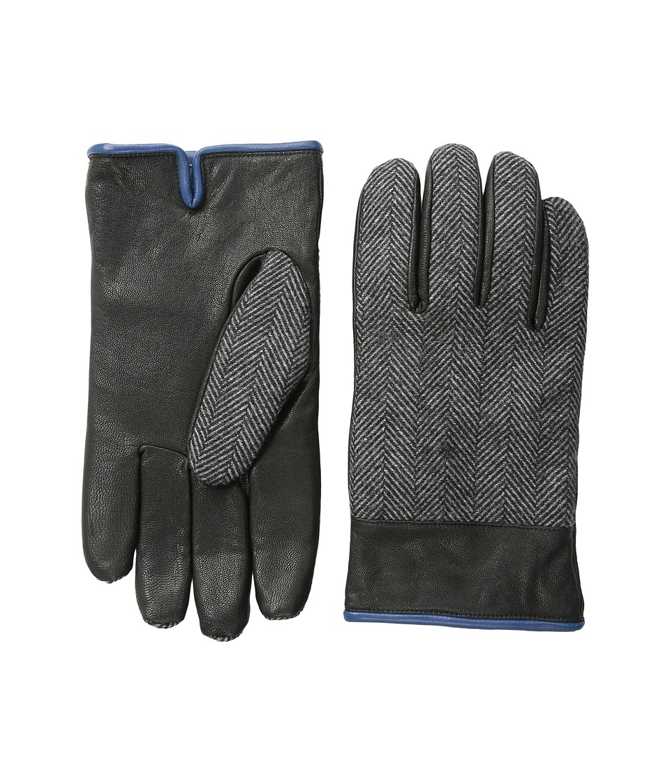 Original Penguin - Woven Herringbone/Leather Glove (Black) Extreme Cold Weather Gloves