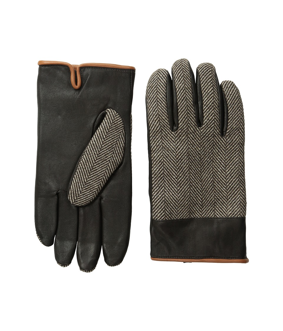 Original Penguin - Woven Herringbone/Leather Glove (Brown) Extreme Cold Weather Gloves