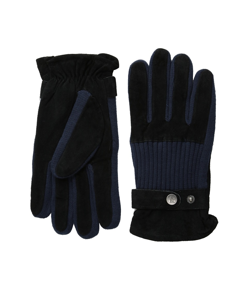 Original Penguin - Ribbed Knit and Suede Gloves (Black) Extreme Cold Weather Gloves