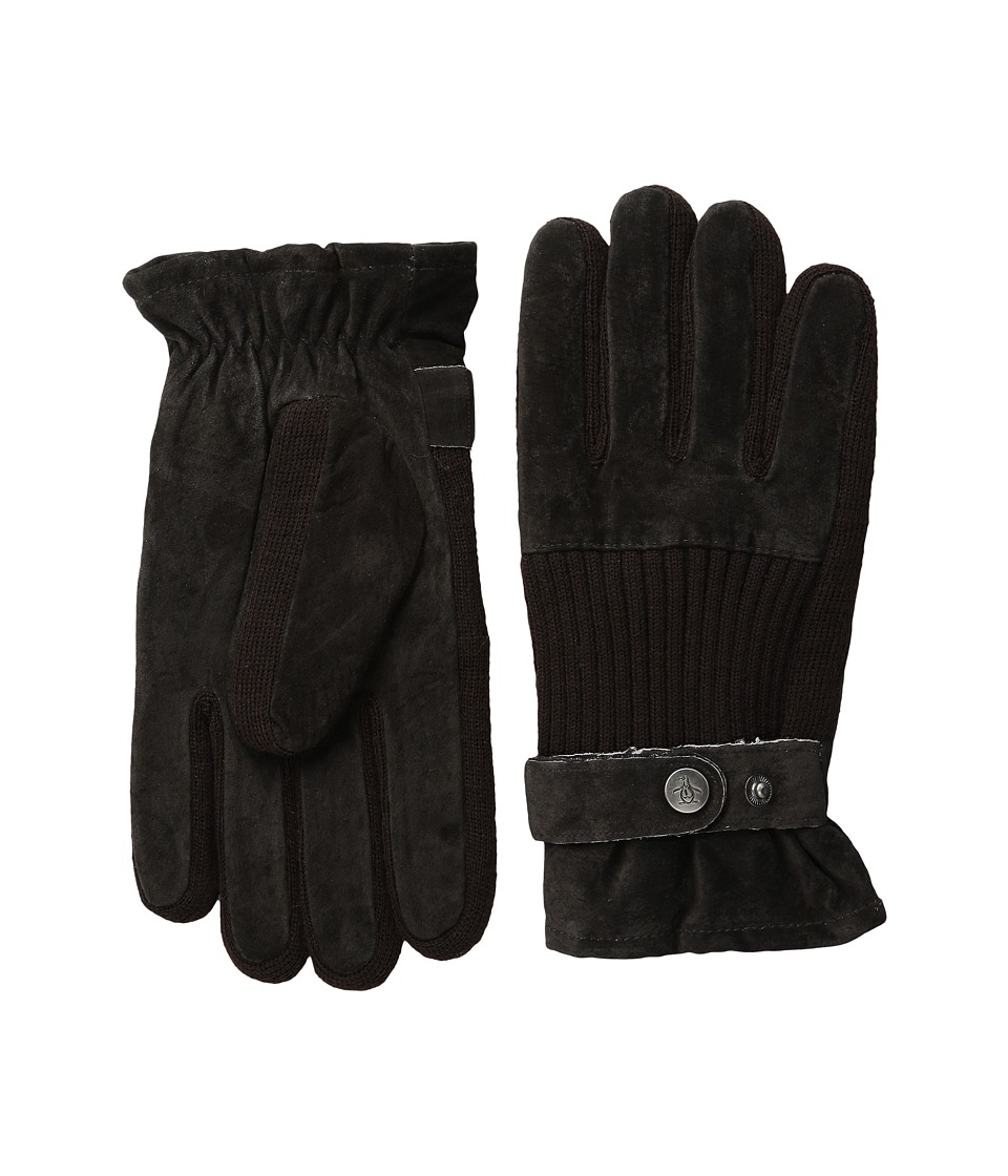 Original Penguin - Ribbed Knit and Suede Gloves (Brown) Extreme Cold Weather Gloves