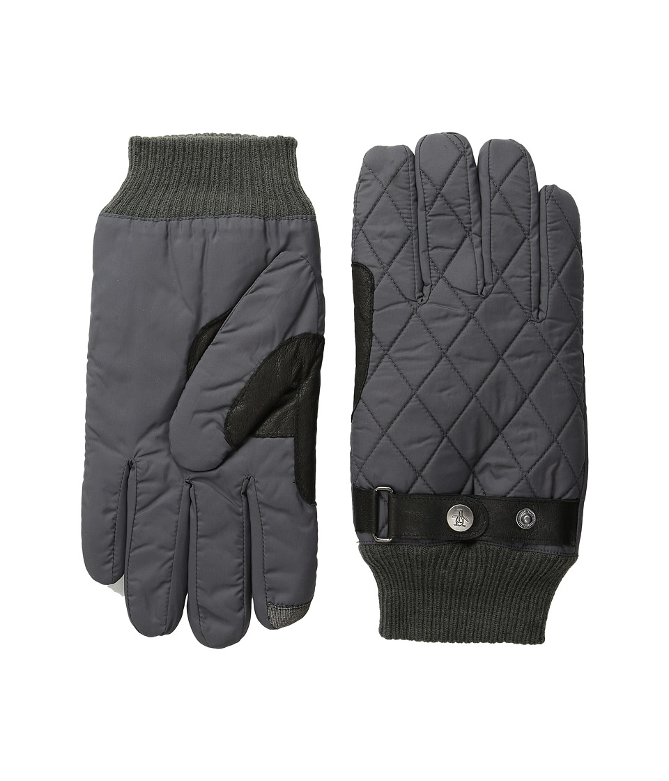 Original Penguin - Quilted Nylon Gloves (Factory Grey) Extreme Cold Weather Gloves