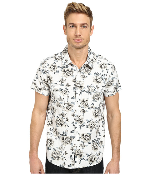 Seven7 Jeans - Short Sleeve Floral Shirt (Bright White) Men