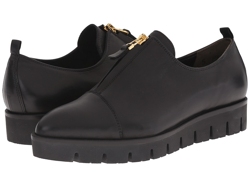 Kennel & Schmenger - Milla Center Zip (Schwarz/Gold) Women's Slip on Shoes
