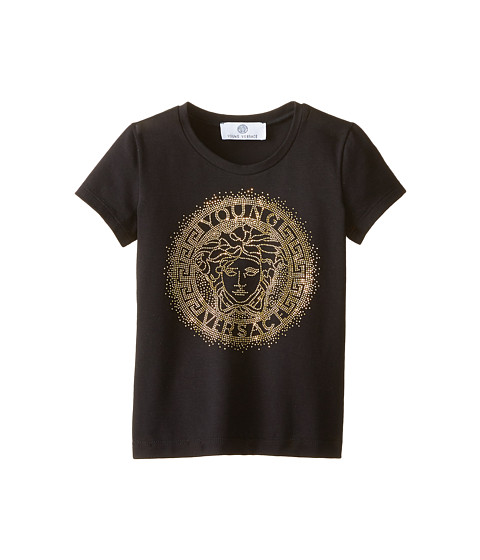 Versace Kids - Medusa Logo In Stones Short Sleeve Tee (Toddler/Little Kids) (Black) Girl's T Shirt
