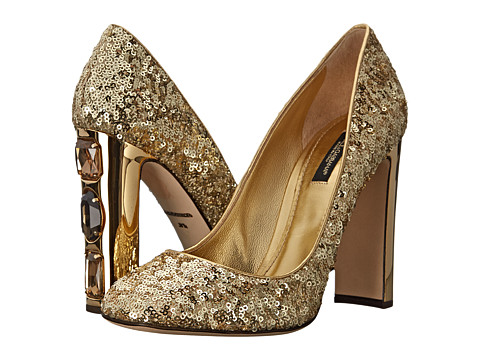 Dolce & Gabbana - Decollete Mini Paillettes Nappa (Oro) High Heels