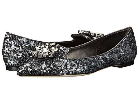 Dolce & Gabbana - Pantofola Mini Paillettes Nappa (Peltro) Women's Slip on Shoes