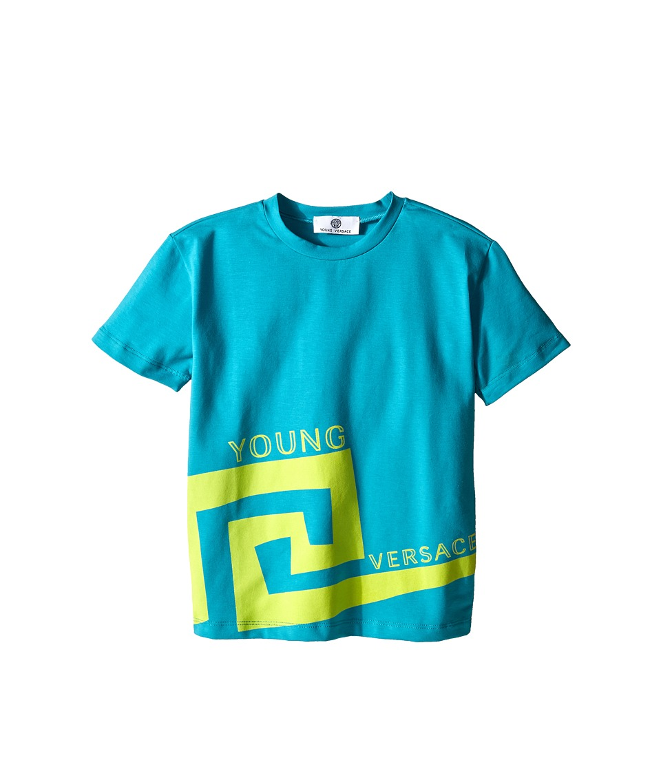 Versace Kids - Big Greco Print Short Sleeve Tee Shirt (Toddler/Little Kids) (Blue) Boy's T Shirt