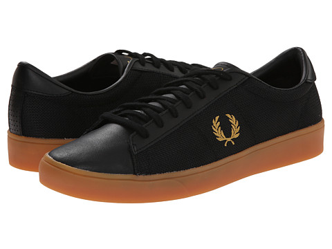 Fred Perry - Spencer Mesh/Leather (Black/1964 Gold) Men's Shoes