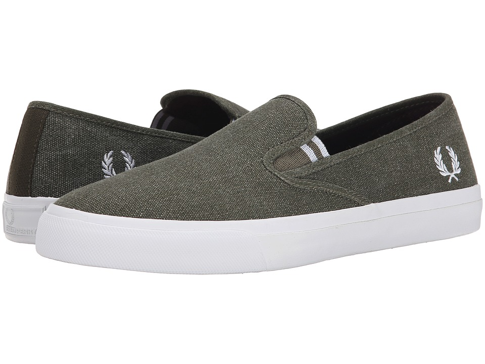 Fred Perry - Turner Slip-On Pigment Dyed Canvas (Forest Night/White) Men