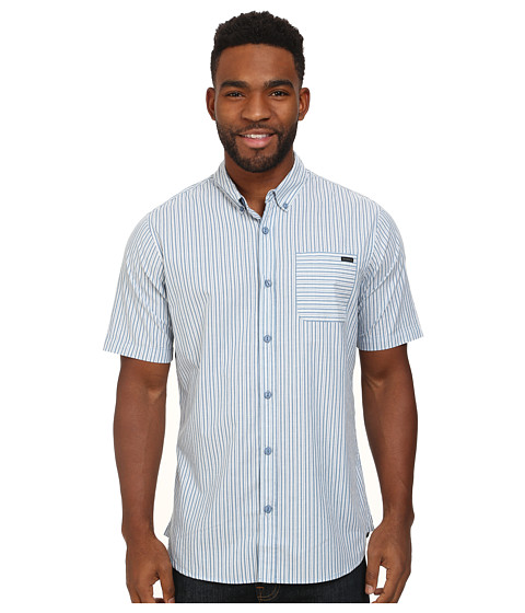 O'Neill - Interstate Pinstripe Woven (Grey) Men's Short Sleeve Button Up
