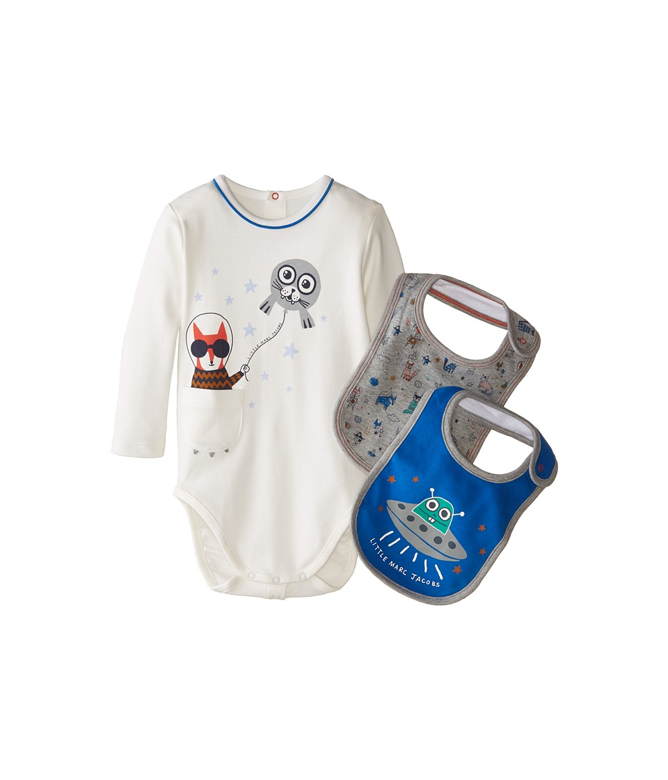 Little Marc Jacobs - Gift Set with Bodysuit and 2 Bibs (Infant) (Ecru Blue) Boy
