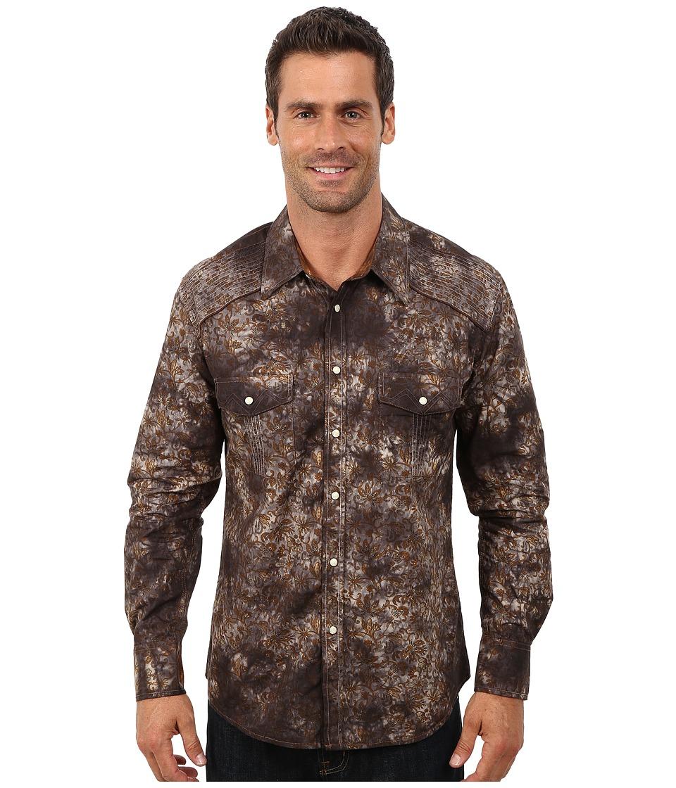 Rock and Roll Cowboy - Long Sleeve Snap Poplin Print B2S3022 (Brown) Men
