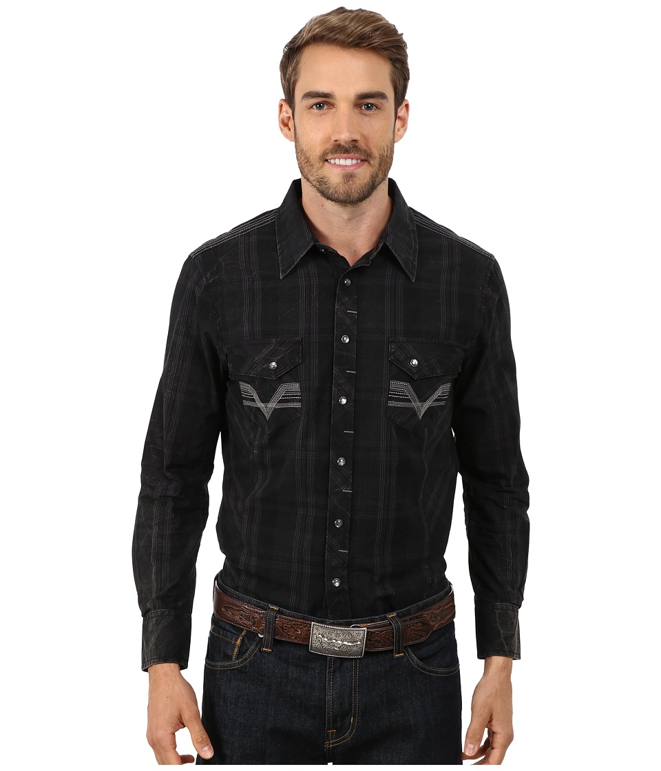Rock and Roll Cowboy - Long Sleeve Snap Plaid B2S4437 (Black) Men's Clothing