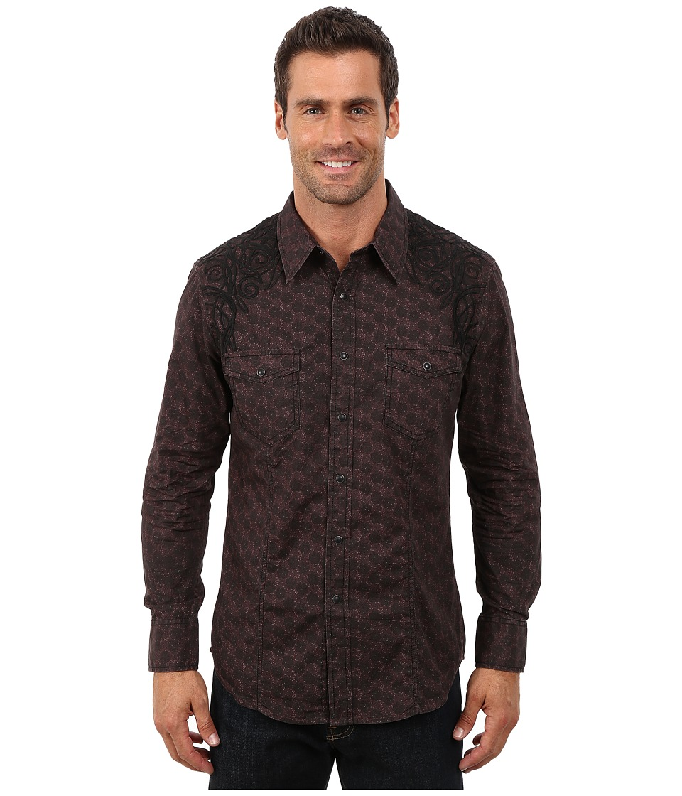 Rock and Roll Cowboy - Long Sleeve Snap Poplin Print B2S4441 (Red) Men's Clothing