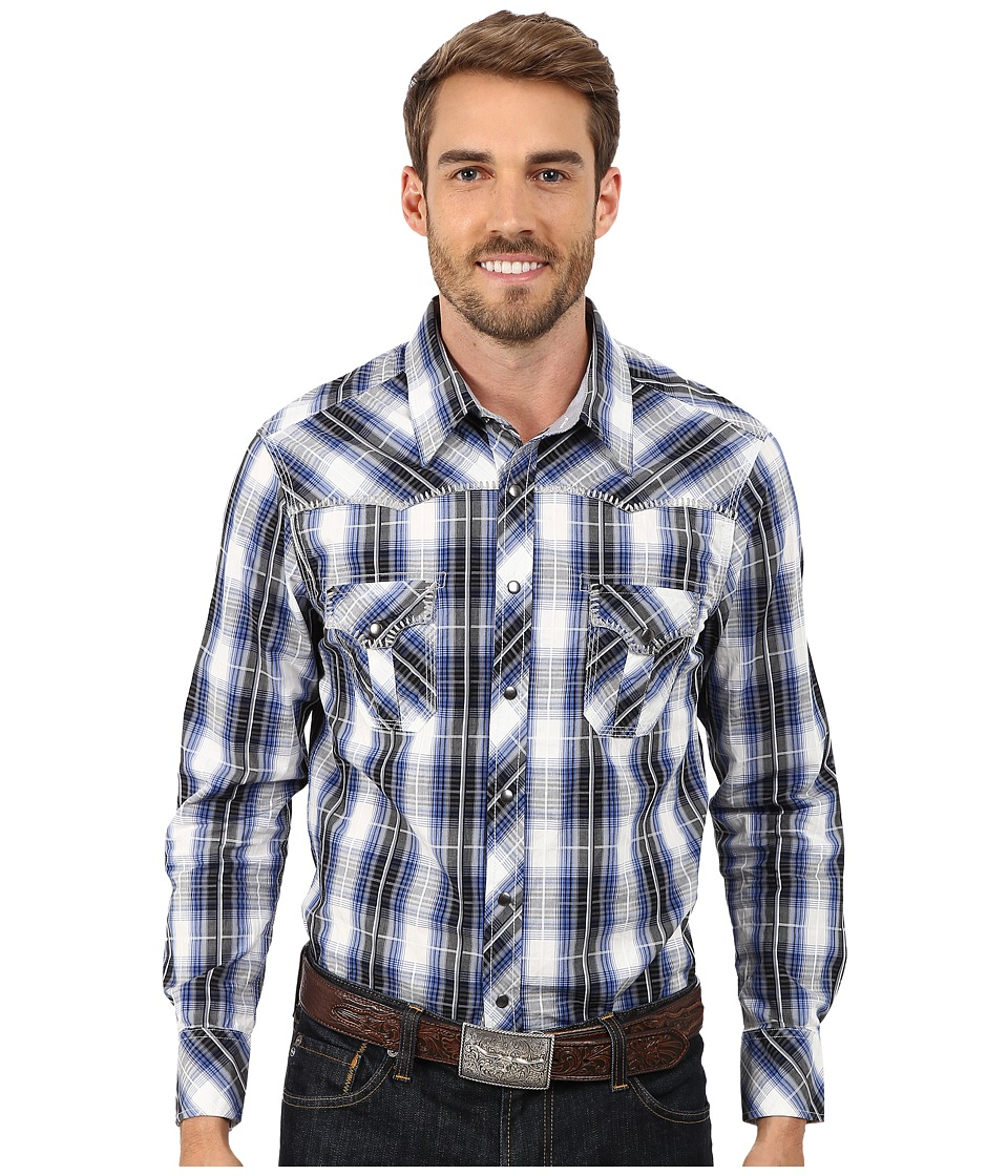 Rock and Roll Cowboy - Long Sleeve Snap Plaid B2S4433 (Grey/Blue) Men