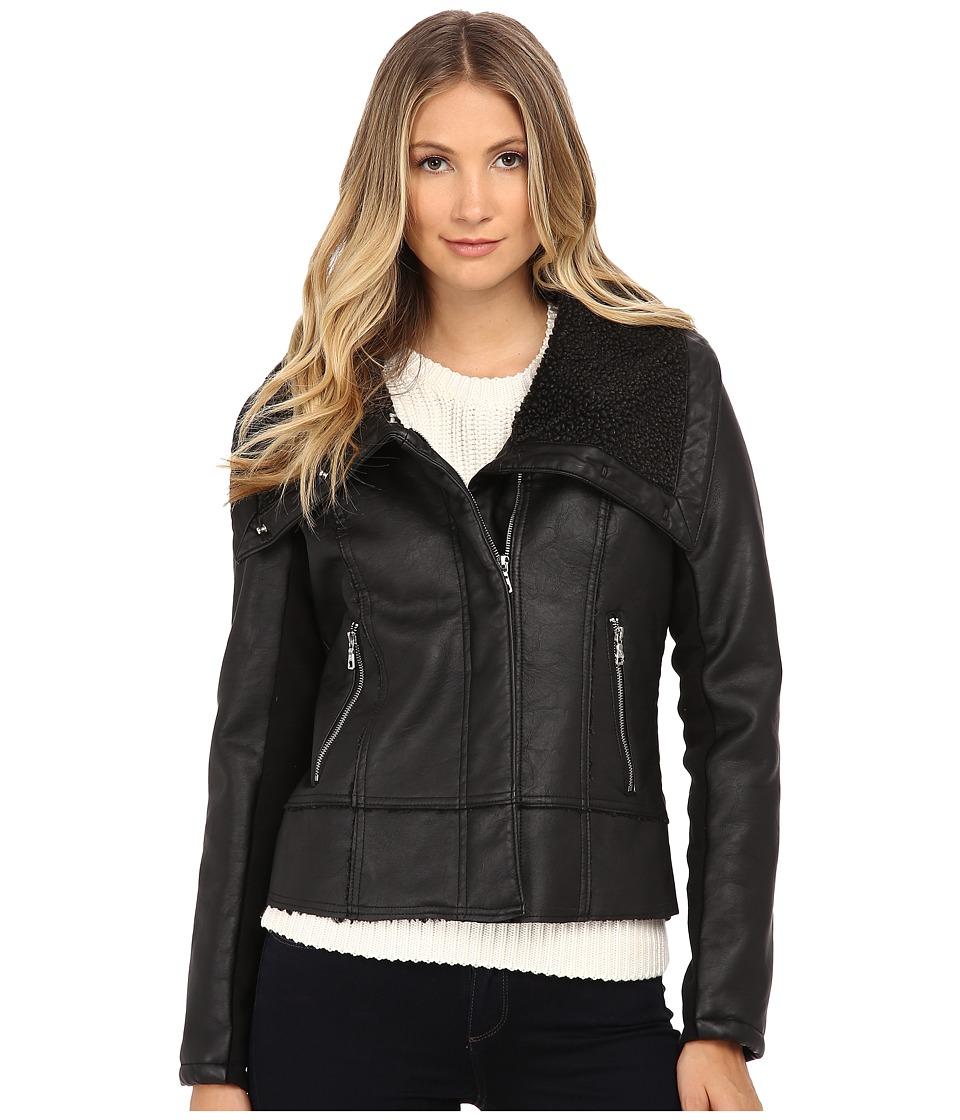 Sam Edelman - PU w/ Oversize Sherpa Collar Moto Jacket (Black) Women's Coat