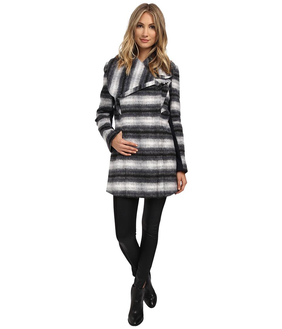 Sam Edelman - Novelty Wool Asymmetrical Clip Coat (Navy Plaid) Women's Coat