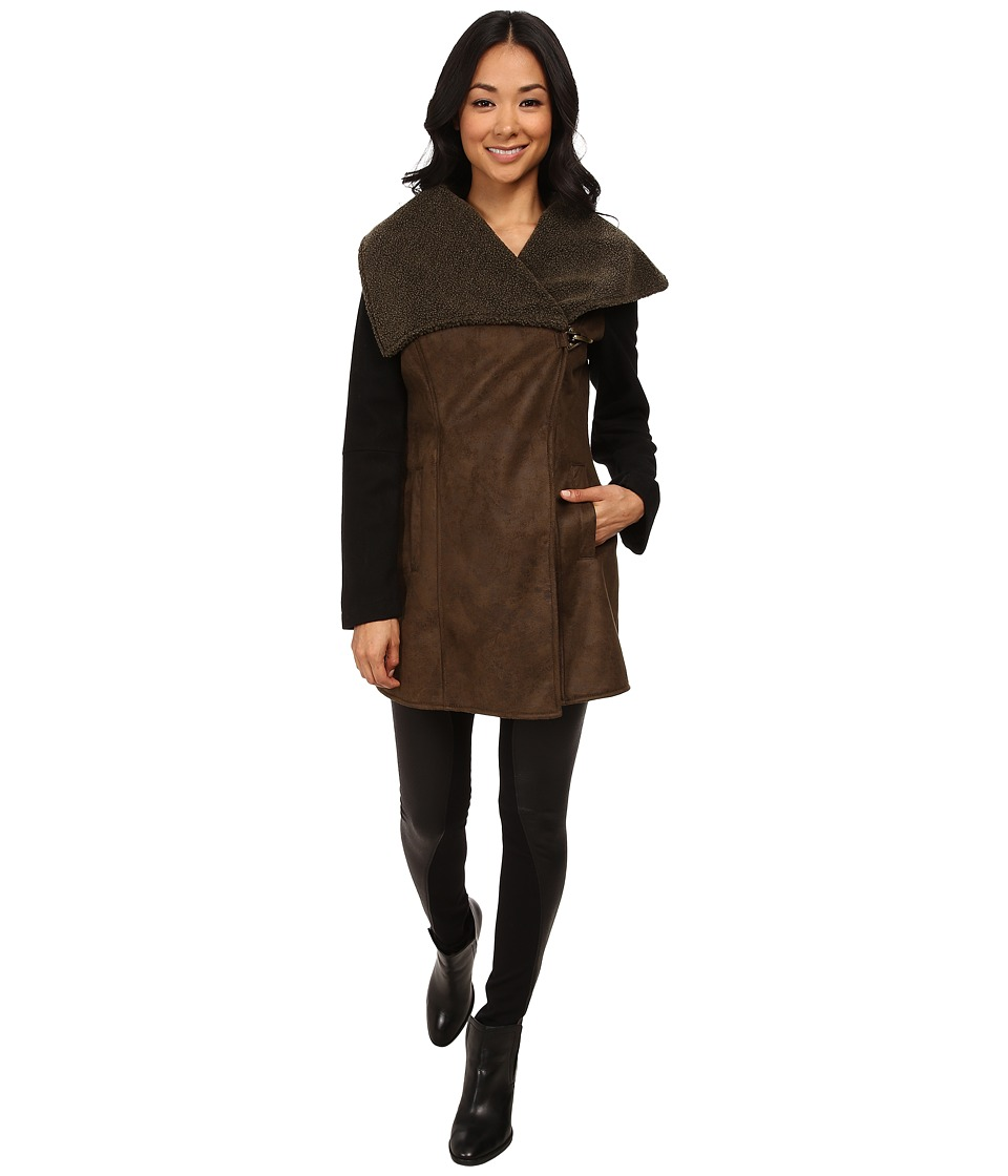 Sam Edelman - Asymmetrical Faux Sherpa w/ Wool Sleeve and Color Block Jacket (Olive) Women's Coat