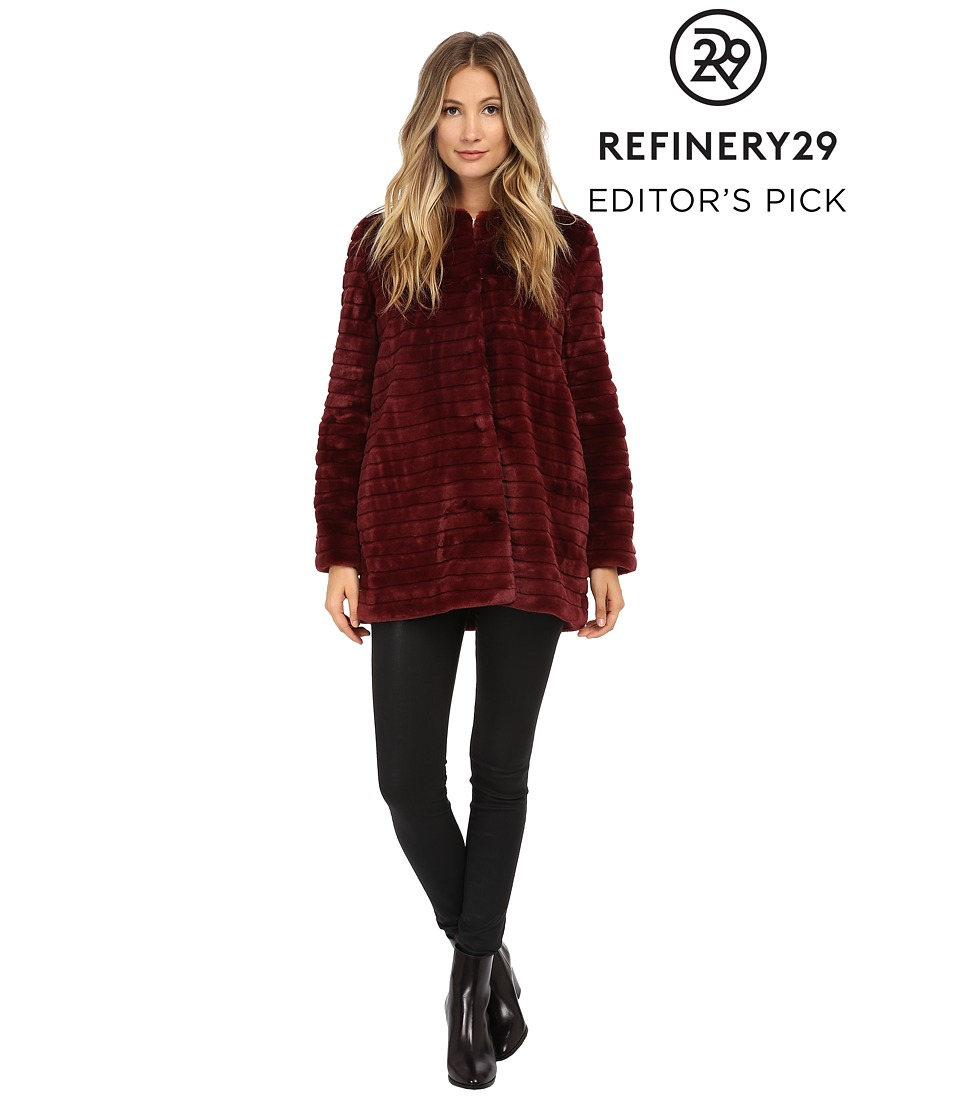 Sam Edelman - Faux Fur Striped Jacket (Burgundy) Women's Coat