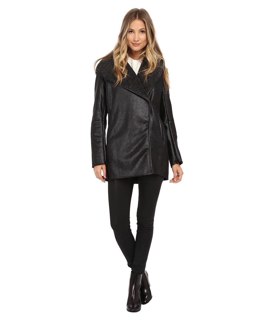 Sam Edelman - Hooded Faux Sherpa Jacket w/ PU Piping (Black) Women's Coat