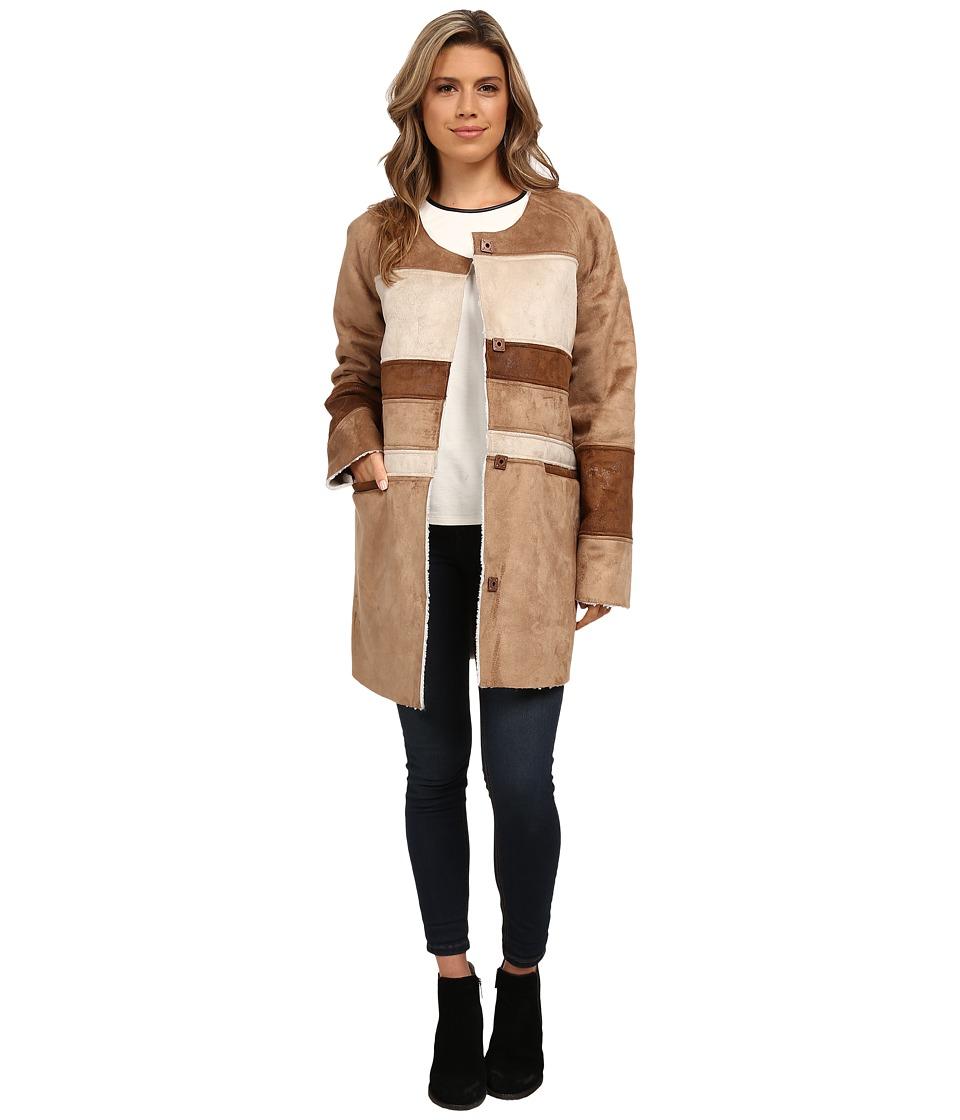 Sam Edelman Color Block Shearling Jacket (Saddle) Women's...