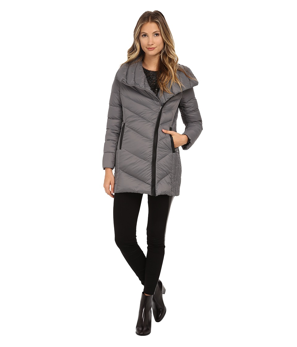 Sam Edelman - Pryce Asymmetrical High Denist Down Jacket (Charcoal) Women's Coat