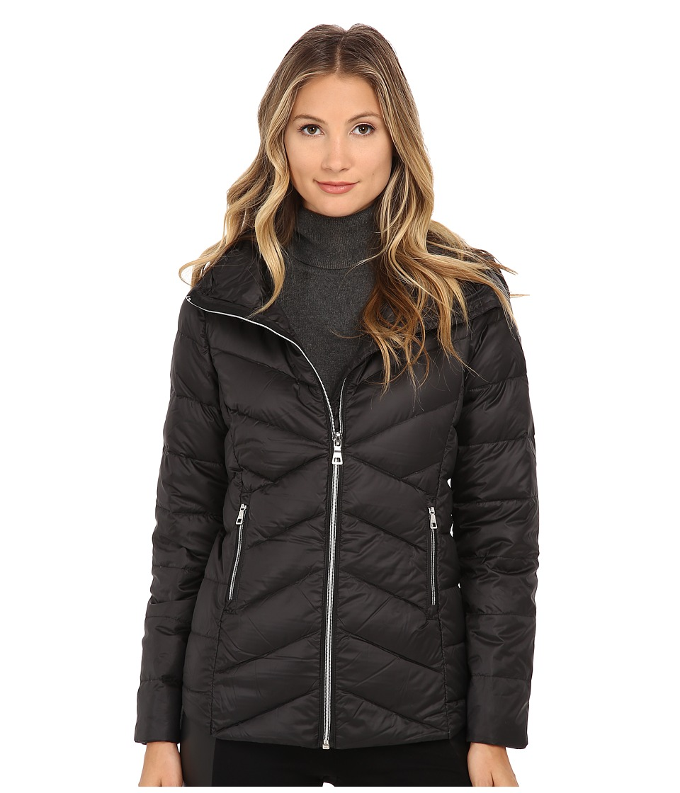 Sam Edelman - Hooded Packable Down Jacket (Black) Women's Coat