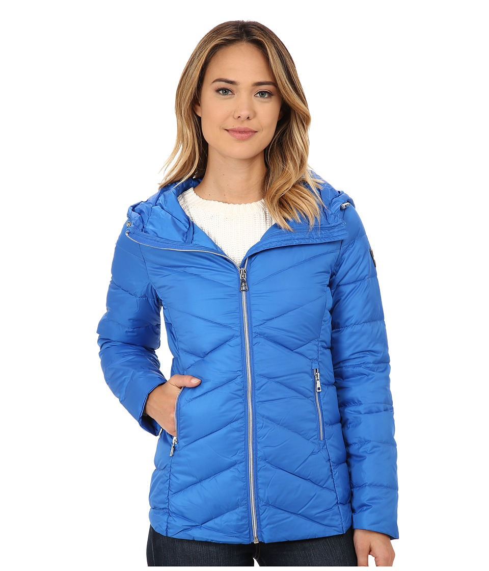 Sam Edelman - Hooded Packable Down Jacket (Royal Blue) Women's Coat