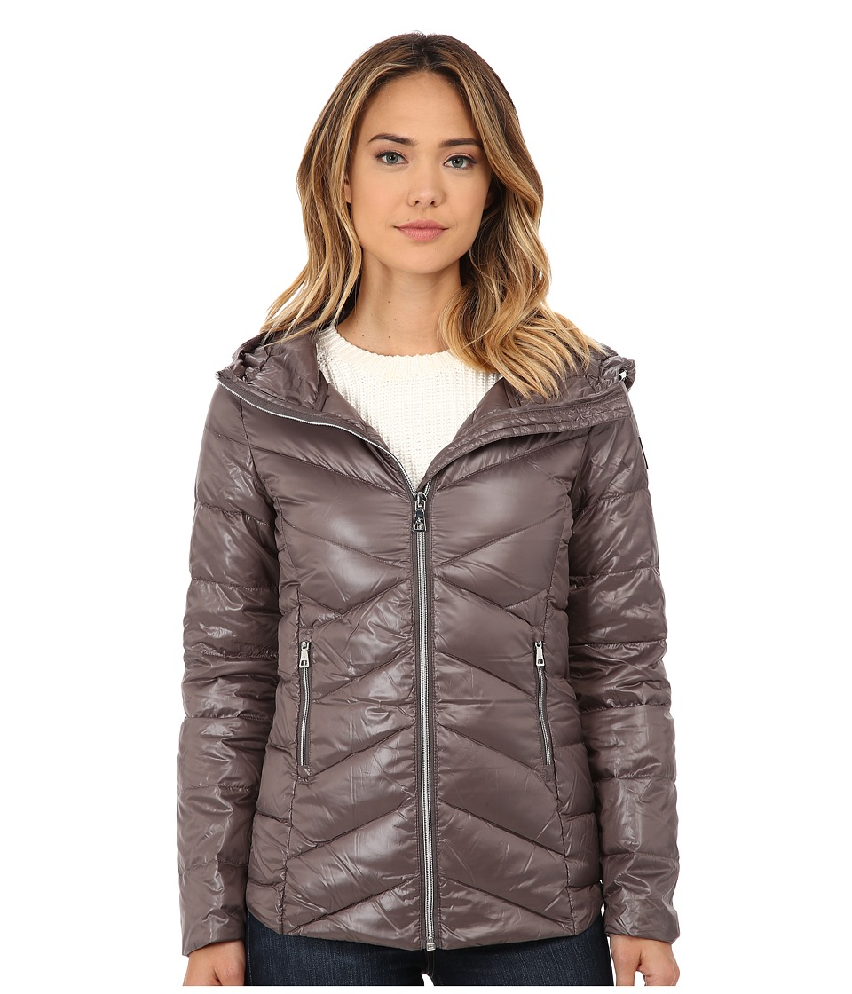 Sam Edelman - Hooded Packable Down Jacket (Silver Grey) Women's Coat