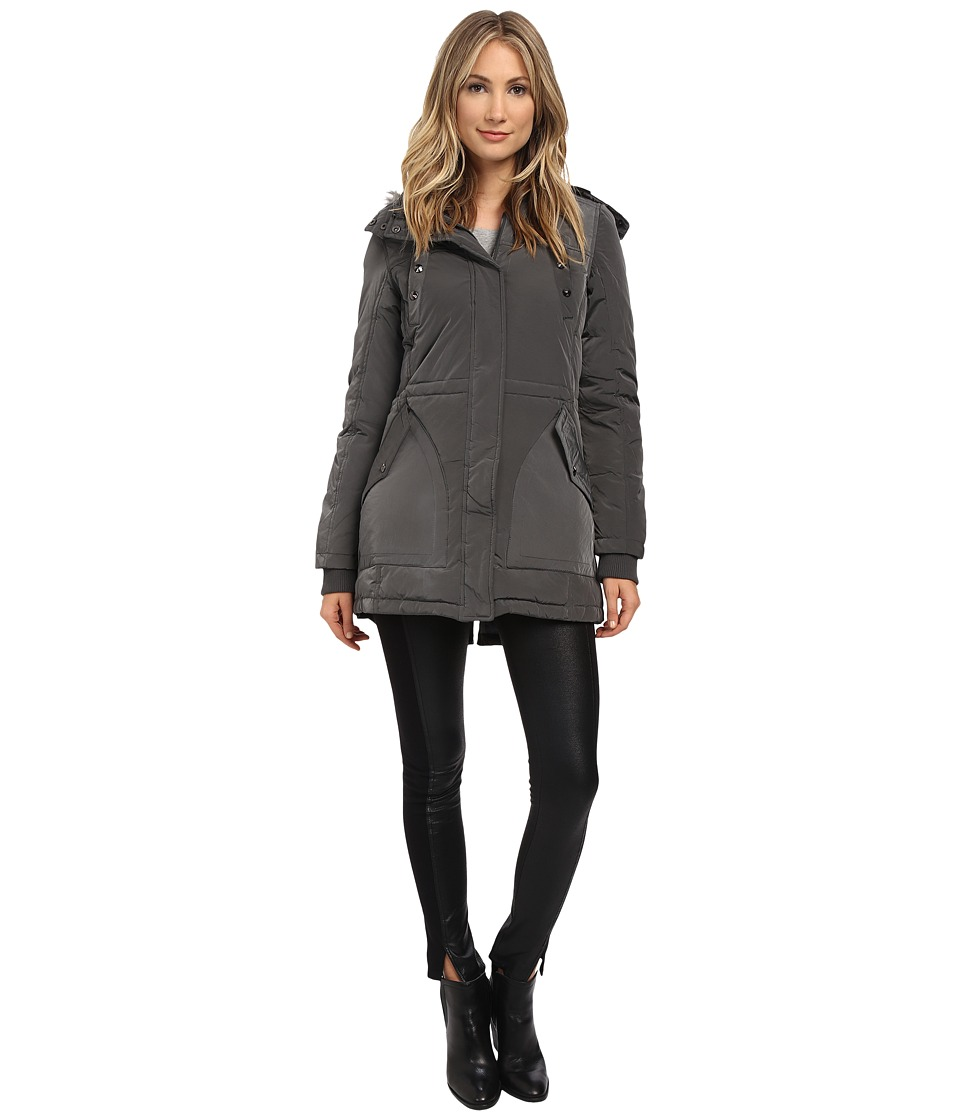 Sam Edelman - Long Parka w/ Pop Lining (Pewter) Women's Coat