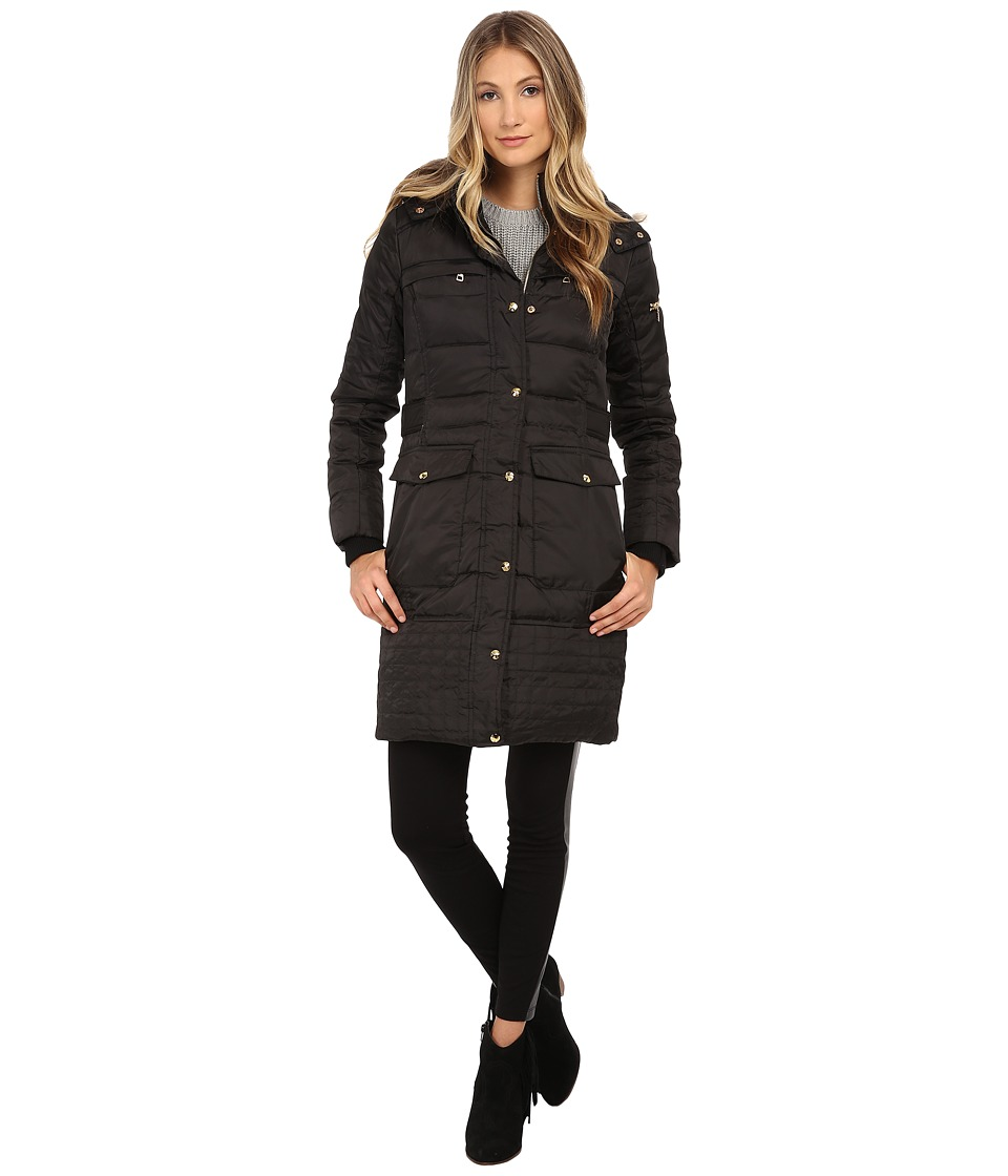 Sam Edelman - Long 3/4 Down w/ Horizontal Quilting and Side Tab Detail Jacket (Black) Women's Coat