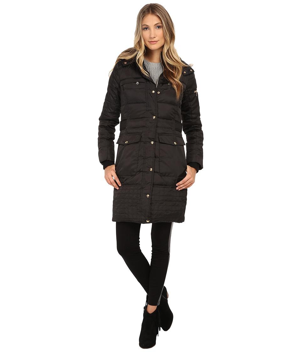 Sam Edelman - Long 3/4 Down w/ Horizontal Quilting and Side Tab Detail Jacket (Black) Women's Coat