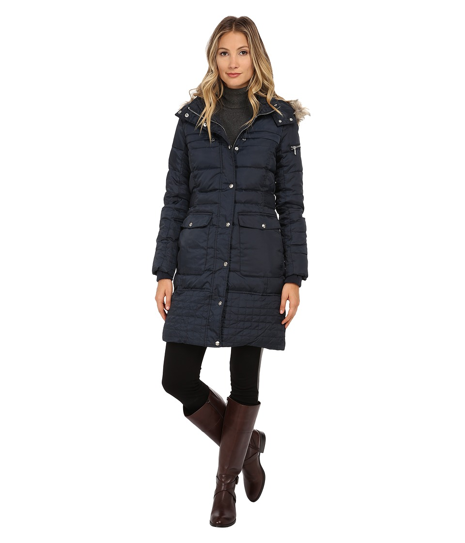 Sam Edelman - Long 3/4 Down w/ Horizontal Quilting and Side Tab Detail Jacket (Navy) Women's Coat