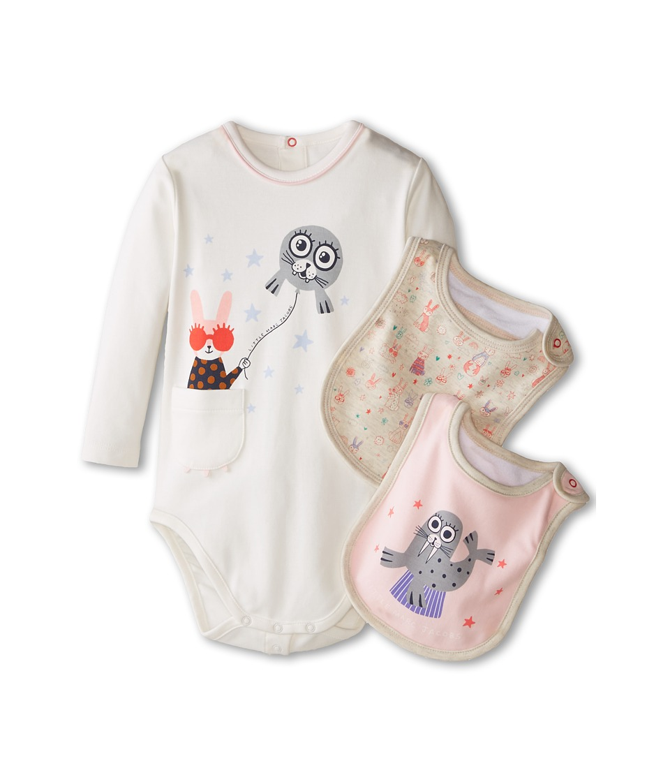Little Marc Jacobs - Gift Set with Bodysuit and 2 Bibs (Infant) (Ecru Rose) Girl's Active Sets