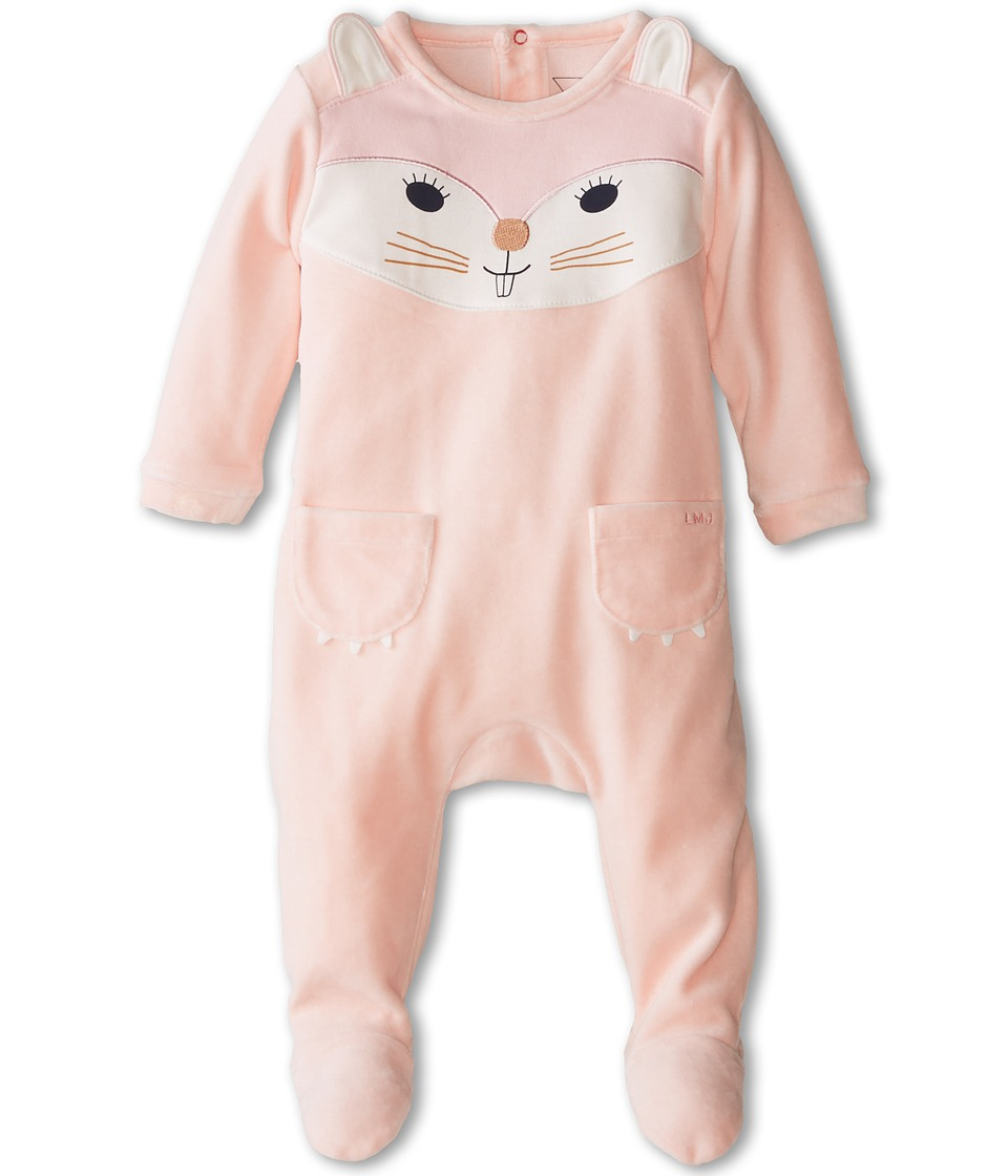 Little Marc Jacobs - Velour Cat Footie (Infant) (Ice Pink) Girl's Jumpsuit & Rompers One Piece