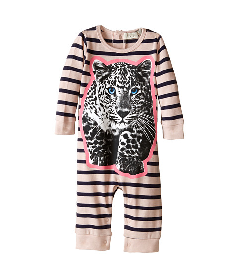 Stella McCartney Kids - Dewberry Striped All In One w/ Leopard Graphic (Infant) (Pink/Navy) Girl's Jumpsuit & Rompers One Piece