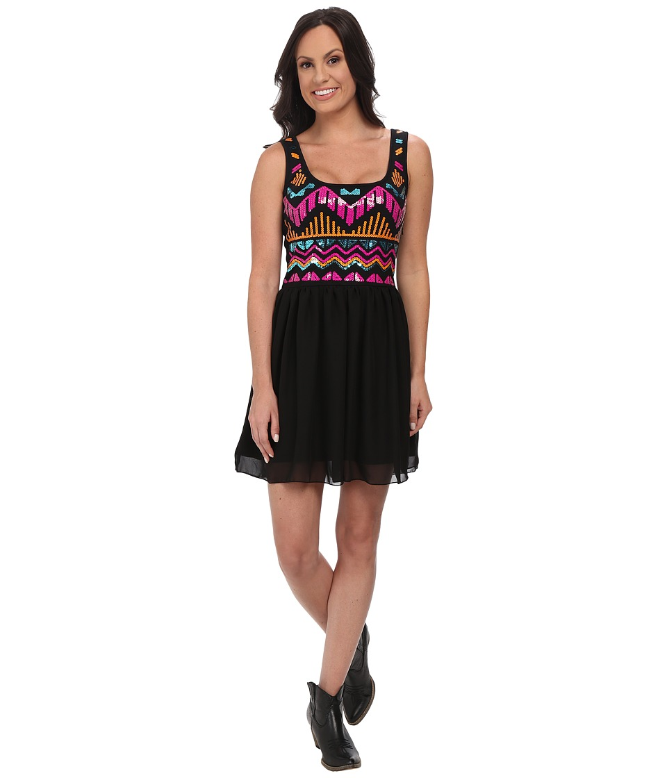 Rock and Roll Cowgirl - Tank Dress D5-4475 (Black) Women's Dress