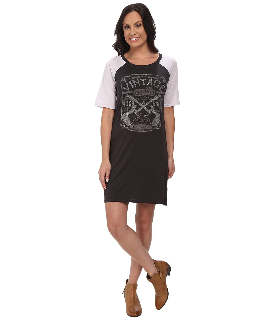 Rock and Roll Cowgirl - 3/4 Sleeve Dress 18-4308 (Black) Women's Dress