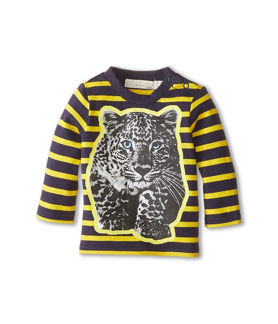 Stella McCartney Kids - Ted Striped Leopard Graphic Tee (Infant) (Yellow/Navy) Boy's T Shirt