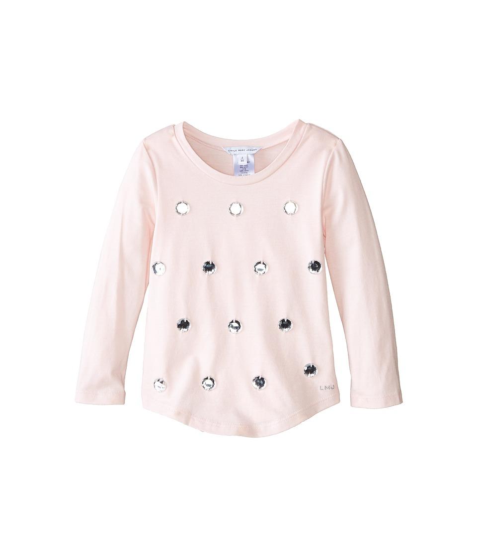 Little Marc Jacobs - Long Sleeve Embellished T-Shirt (Toddler/Little Kids) (Ice Pink) Girl