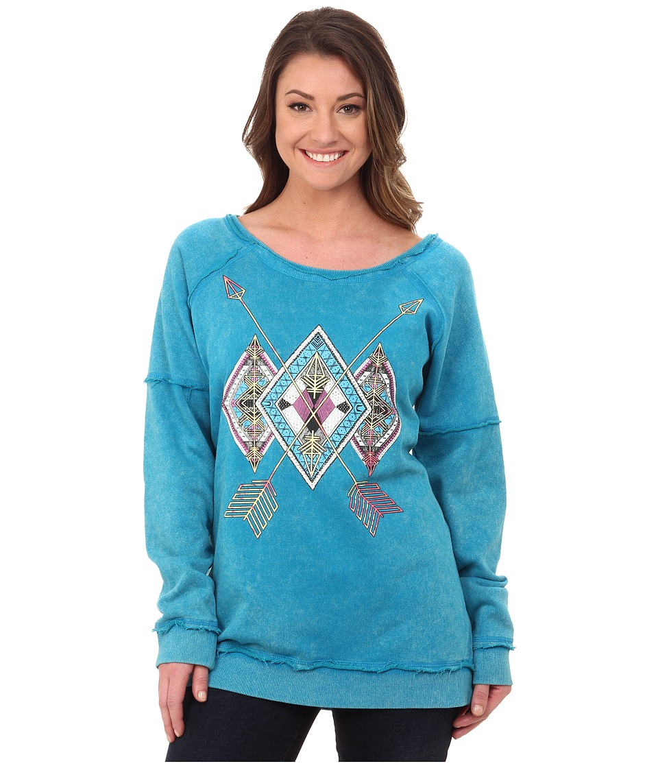 Rock and Roll Cowgirl - Long Sleeve Sweatshirt 48T4253 (Bright Turquoise) Women's Sweatshirt