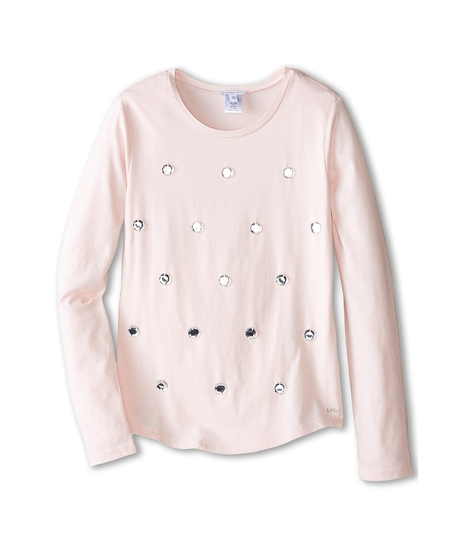 Little Marc Jacobs - Long Sleeve Embellished T-Shirt (Big Kids) (Ice Pink) Girl