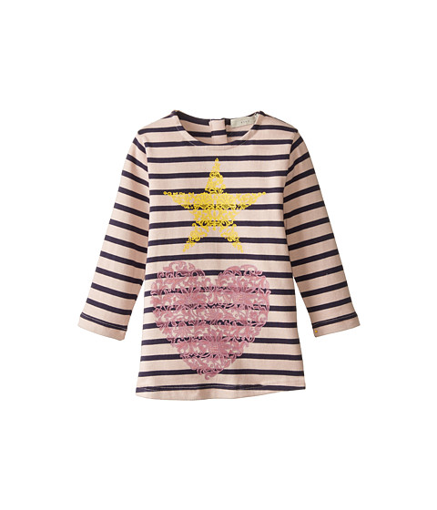 Stella McCartney Kids - Bretta Striped Dress w/ Star and Heart Design (Toddler/Little Kids/Big Kids) (Pink/Navy) Girl