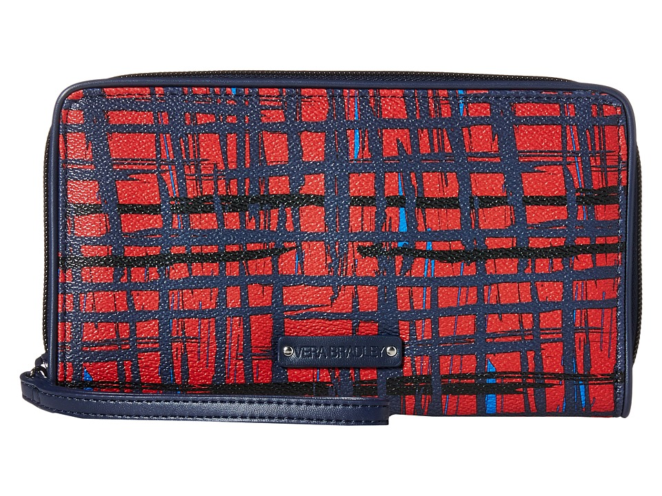 Vera Bradley - Large Zip-Around Wallet (Navy/Red Art Plaid) Wallet Handbags