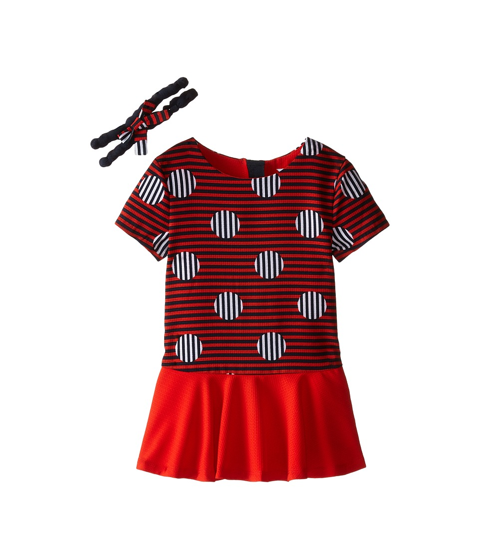 Little Marc Jacobs - Stripe and Dot Dress with Headband (Toddler/Little Kids) (Redfire) Girl's Dress