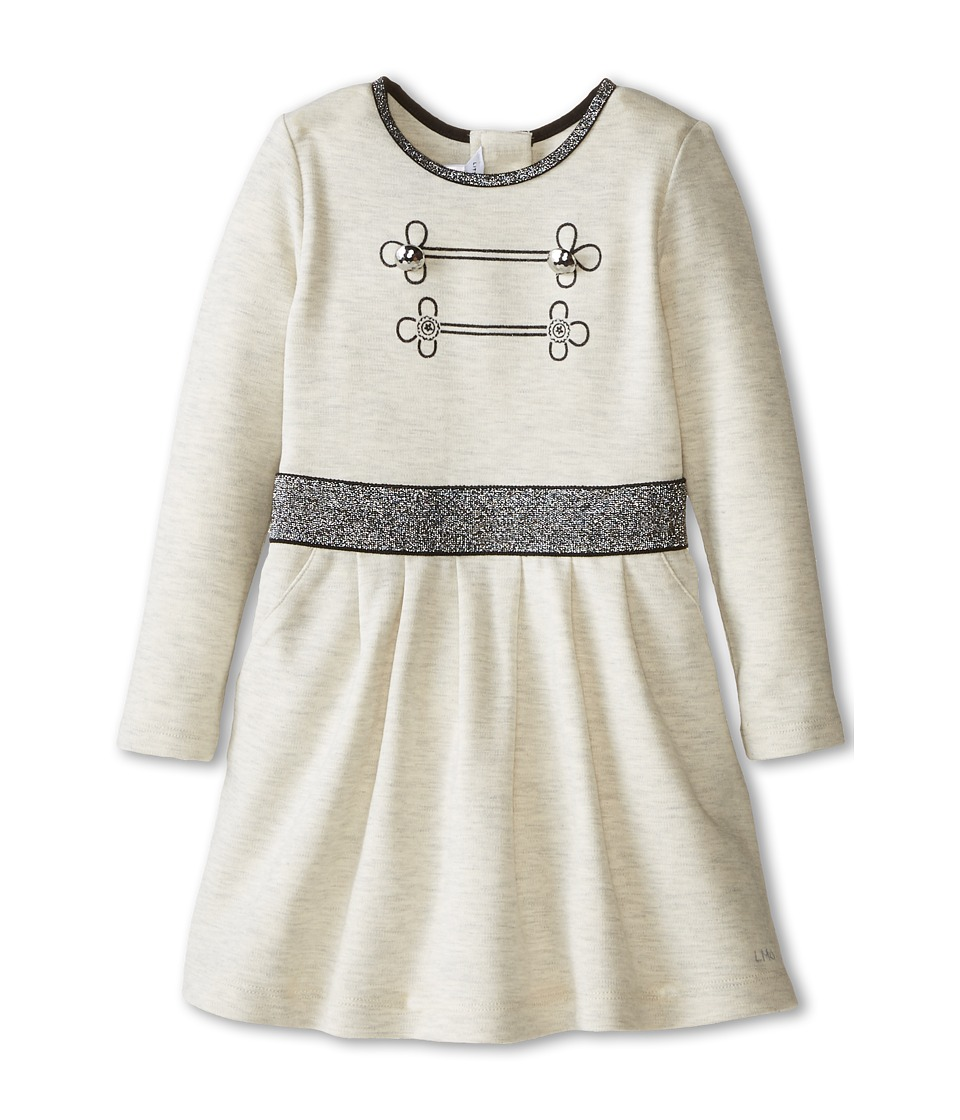 Little Marc Jacobs - Long Sleeve Dress with Lurex Elastic Waist (Toddler/Little Kids) (Beige) Girl's Dress